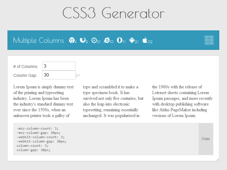 Tools for HTML Coding-CSS3 Generator